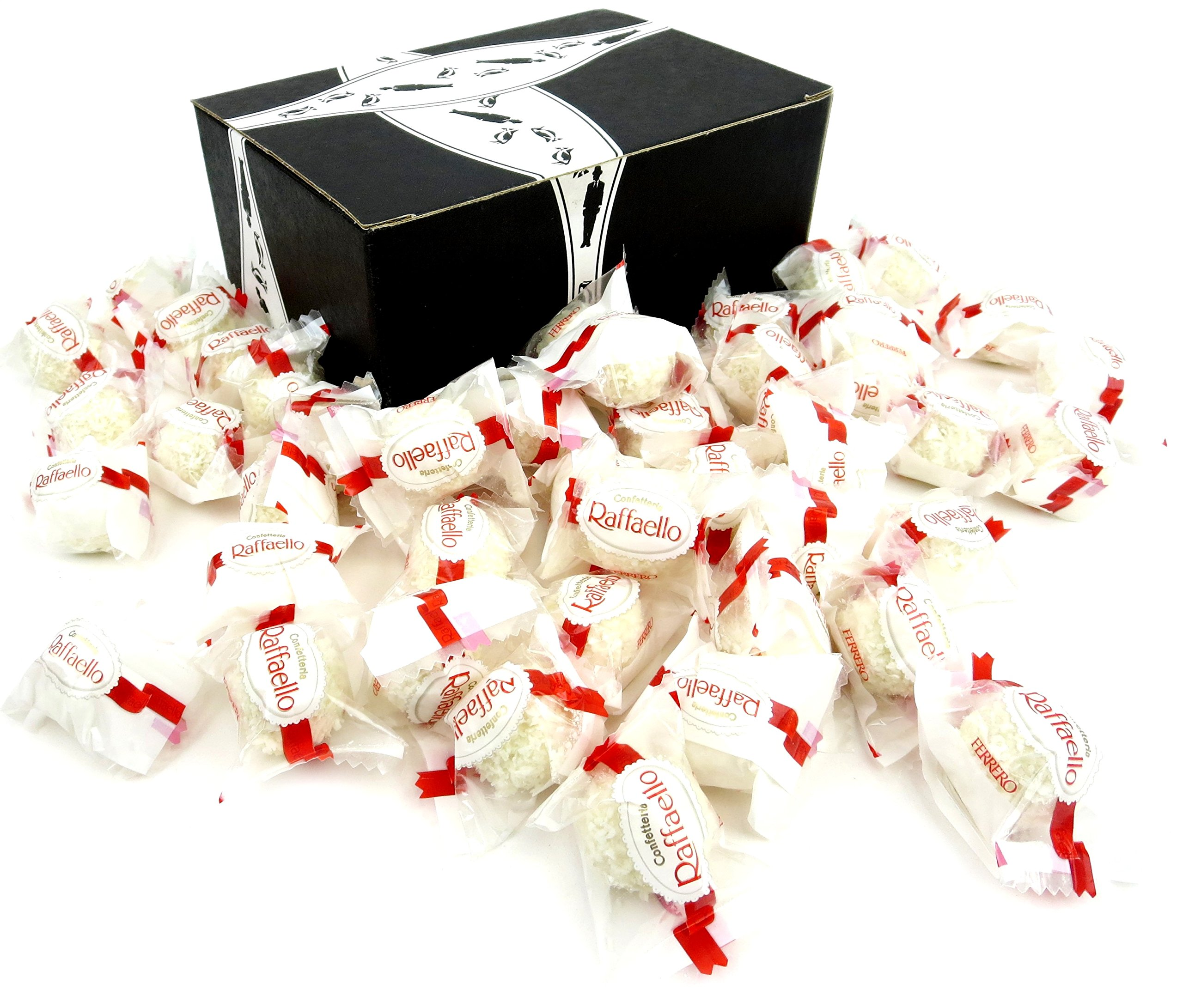 Ferrero Raffaello Almond Coconut Treats in a BlackTie Box (Pack of 45) by Black Tie Mercantile