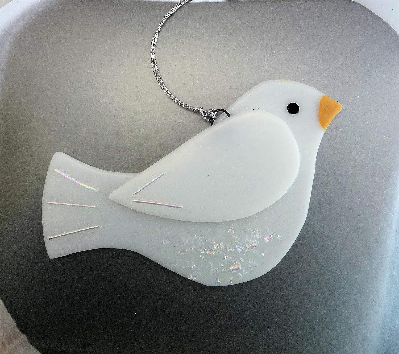 White Dichroic Fused Glass Dove Bird Sun Catcher