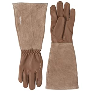 AmazonBasics Leather Gardening Gloves with Forearm Protection - Brown, XL