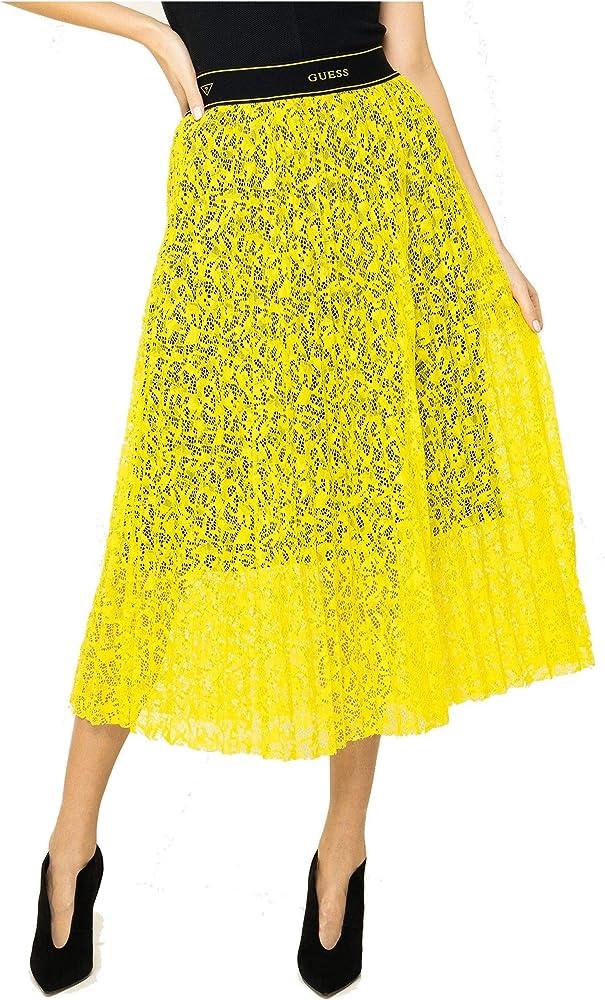 Guess - Falda de encaje amarillo neón con forro entero, color ...