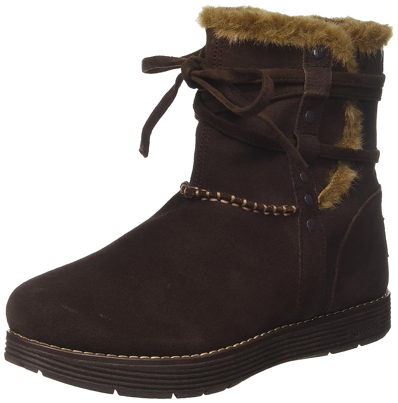 Skechers Damen Adorbs-Plushy Stiefel, Schwarz  41 EU|Braun (Chocolate)