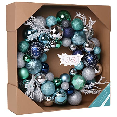 valery madelyn 51cm pre lit winter wishes silver blue christmas wreath with 8 modes remote - Blue Christmas Wreath