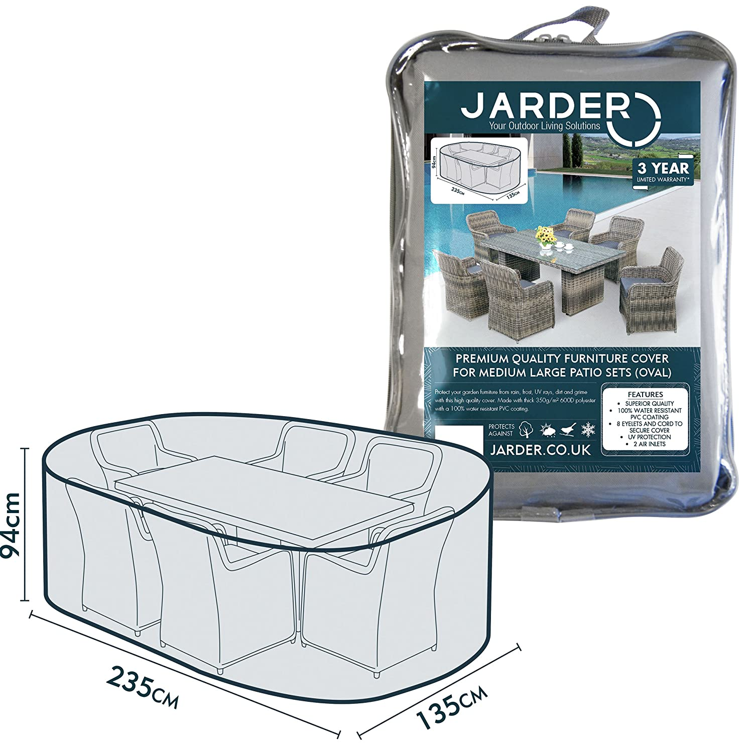 Jarder Oval Patio Set Table Cover, 100% Water Resistant
