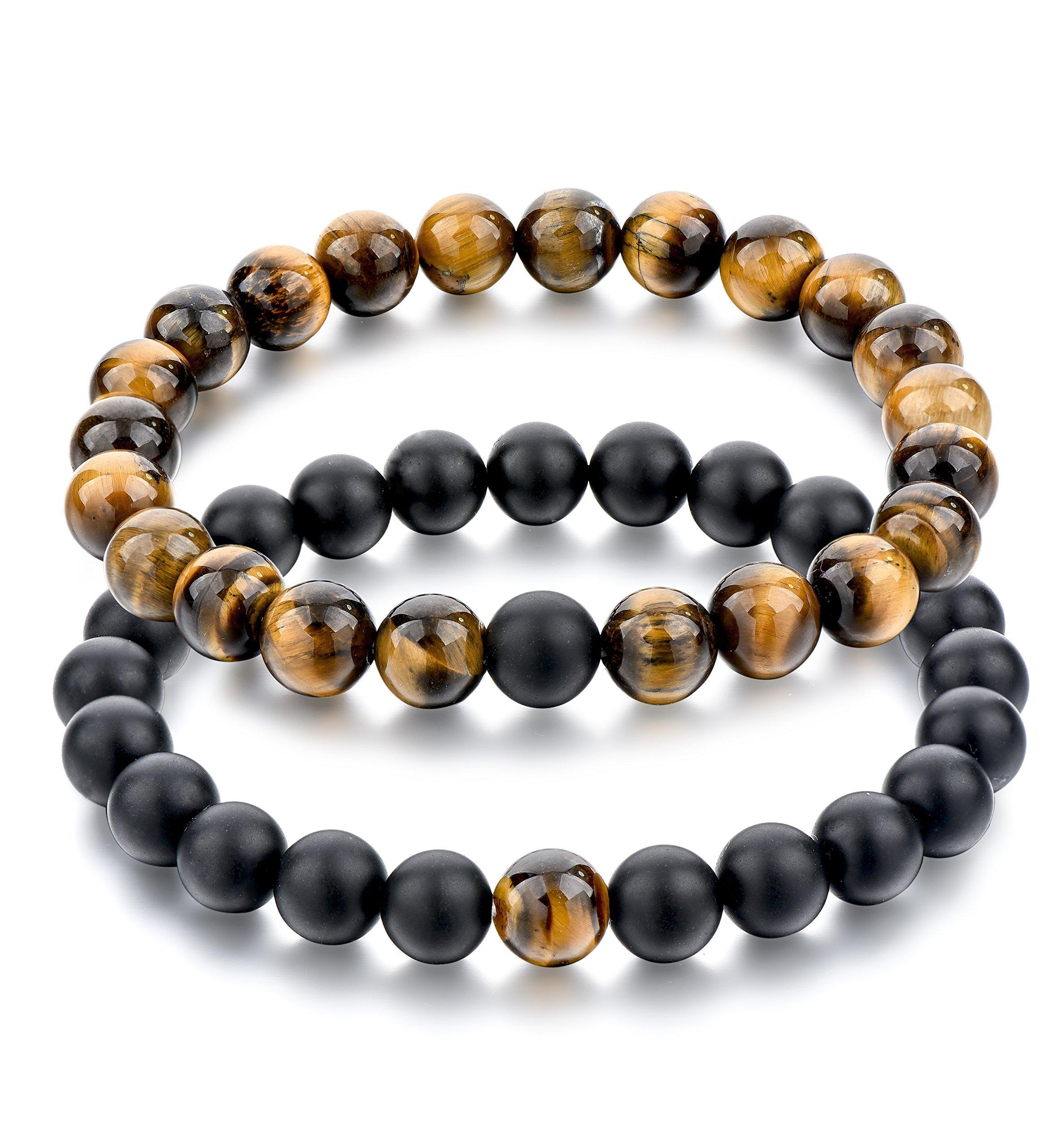 Long Way 2 pcs Black Matte Agate & Tiger Eye Gem Beads 8mm Double Matching Distance Bracelets 7.5''Z & 7.9''