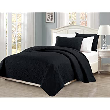 Fancy Collection 3pc King/California King Oversize Bedspread Coverlet Set Embossed Solid Black New