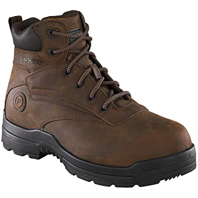 Rockport Mens Brown WP Leather 6in Work Boots More Energy Comp Toe 4.5 M
