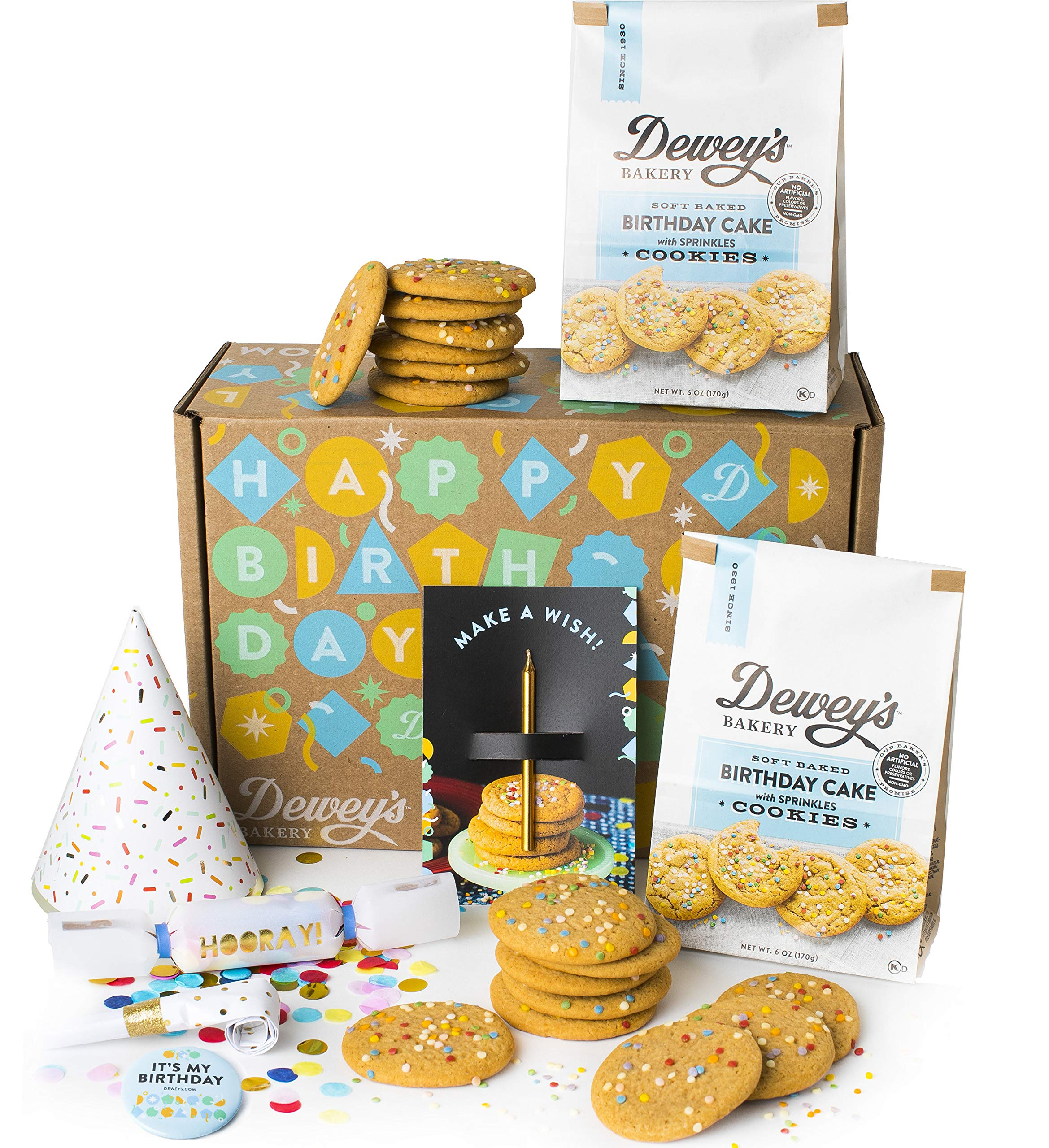 Dewey's Bakery Birthday Party in a Box | Birthday Cake with Sprinkles Soft Baked Cookies | Baked in Small Batches |Simple Ingredients | Southern Bakery Recipe | 6 oz (Pack of 2) with Party Supplies