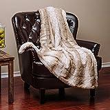 "Chanasya Super Soft Fuzzy Fur Elegant Faux Fur Falling Leaf Pattern With Fluffy Plush Sherpa Cozy Warm Brown Microfiber Throw Blanket (60"" x 70"") - Brown and White"