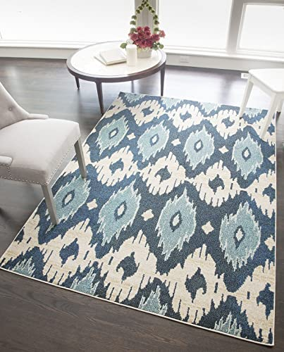 Rugs America BV200A Area Rug, 5 3 x 7 6 , Blue Ivory