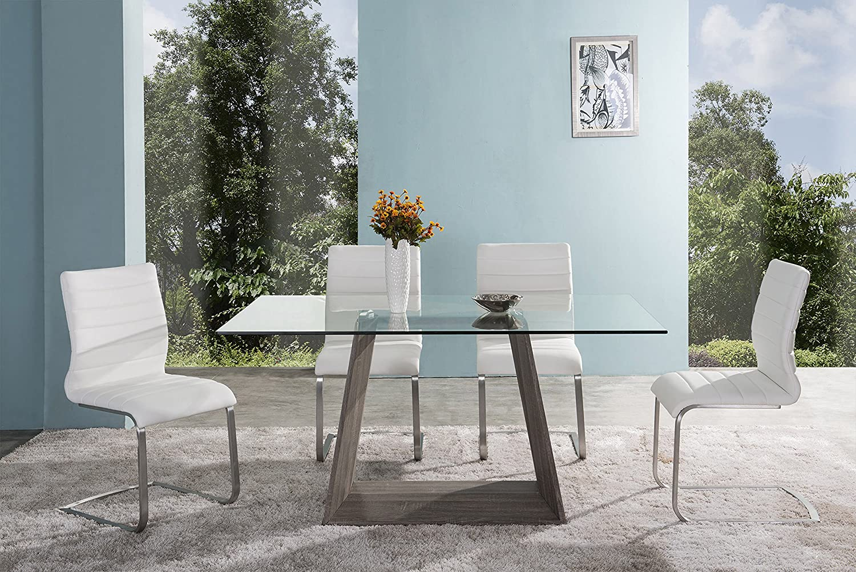 Amazon.com - Armen Living LCBRDIGLTO Bravo Dining Table with Clear ...