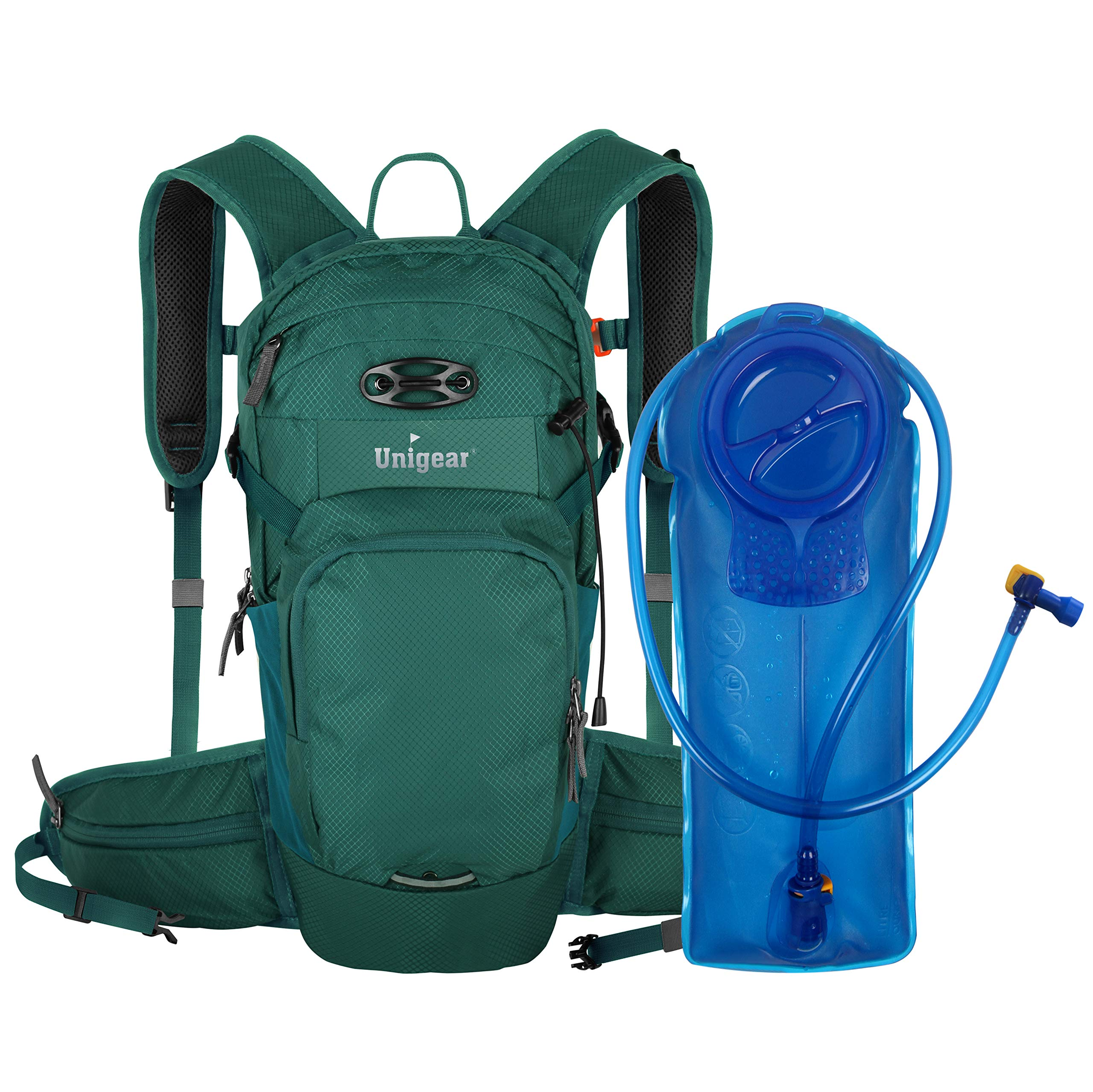 Unigear Hydration Packs Backpack with 2L TPU Water Bladder Reservoir, Thermal Insulation Pack Keeps Liquid Cool up to 4 Hours for Running, Hiking, Climbing, Cycling (Peacock Blue)