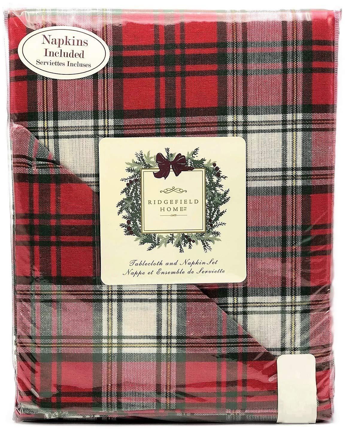 Ridgefield Home クリスマスレッドグリーン格子柄ホリデーコットンテーブルクロス ディナーナプキンセット 60
