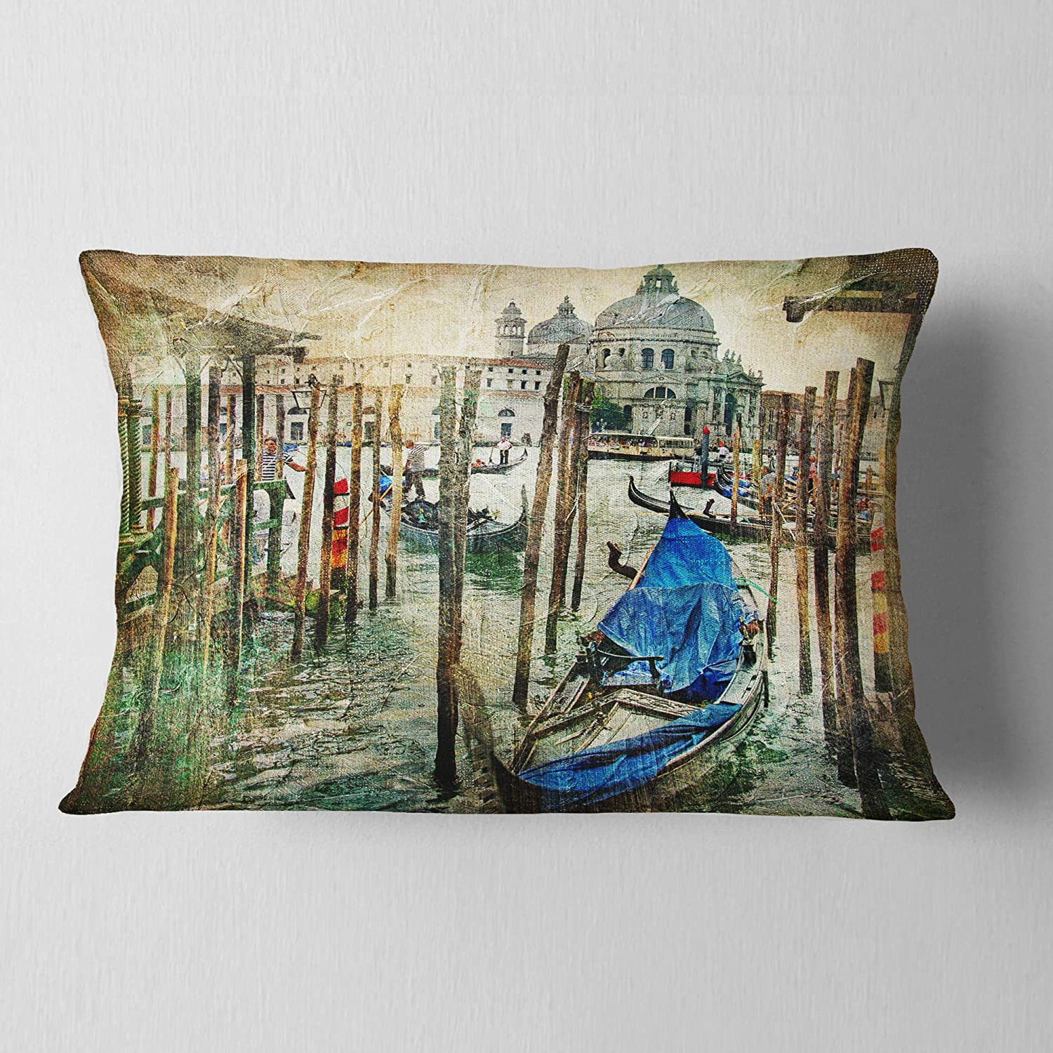Sofa Designart CU6266-16-16-C Beautiful Venice Landscape Printed Round Cushion Cover for Living Room Throw Pillow 16 Inches