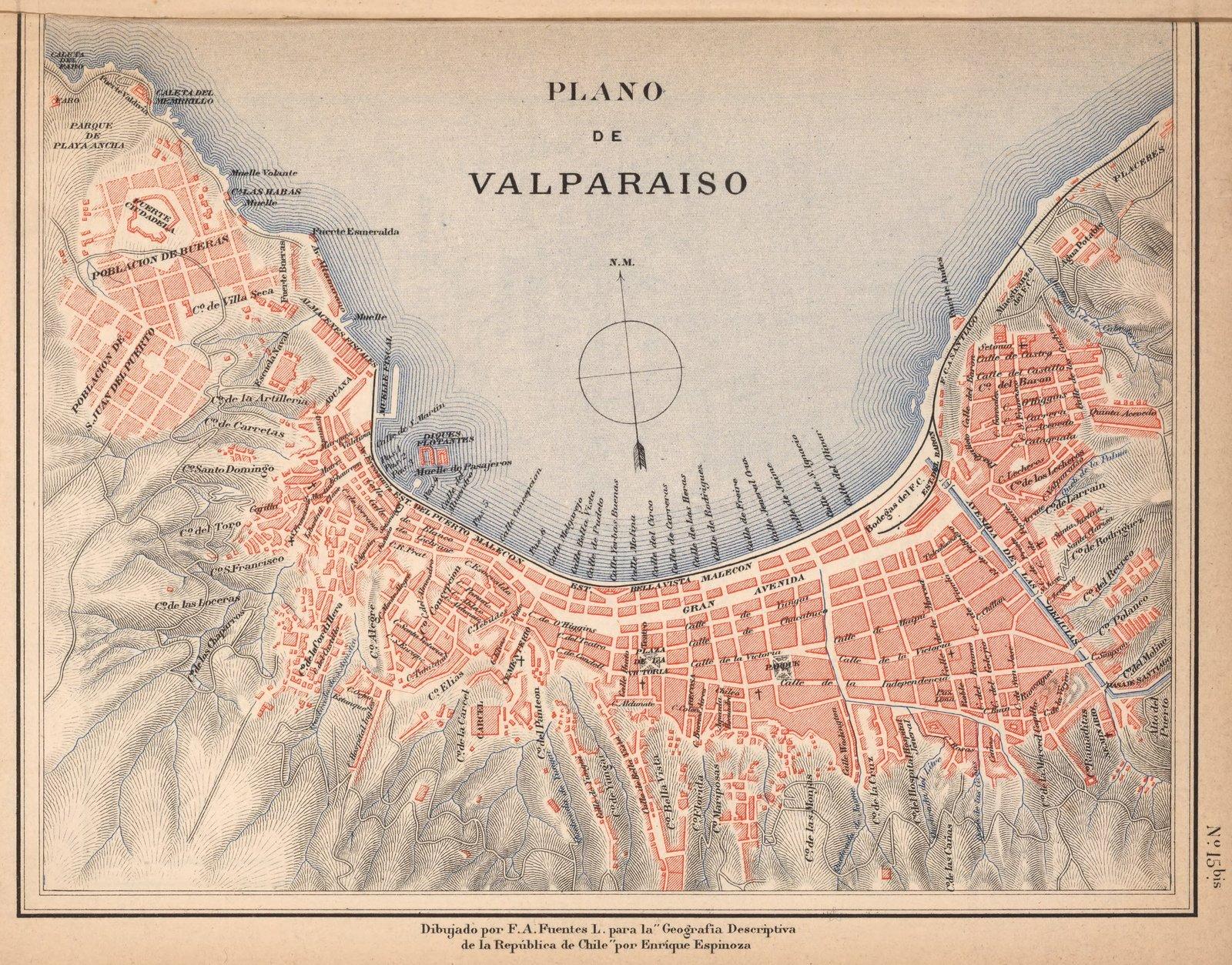 Mapa No. 15. Provincia de Valparaiso., 1903   Historic Antique Vintage Map Reprint