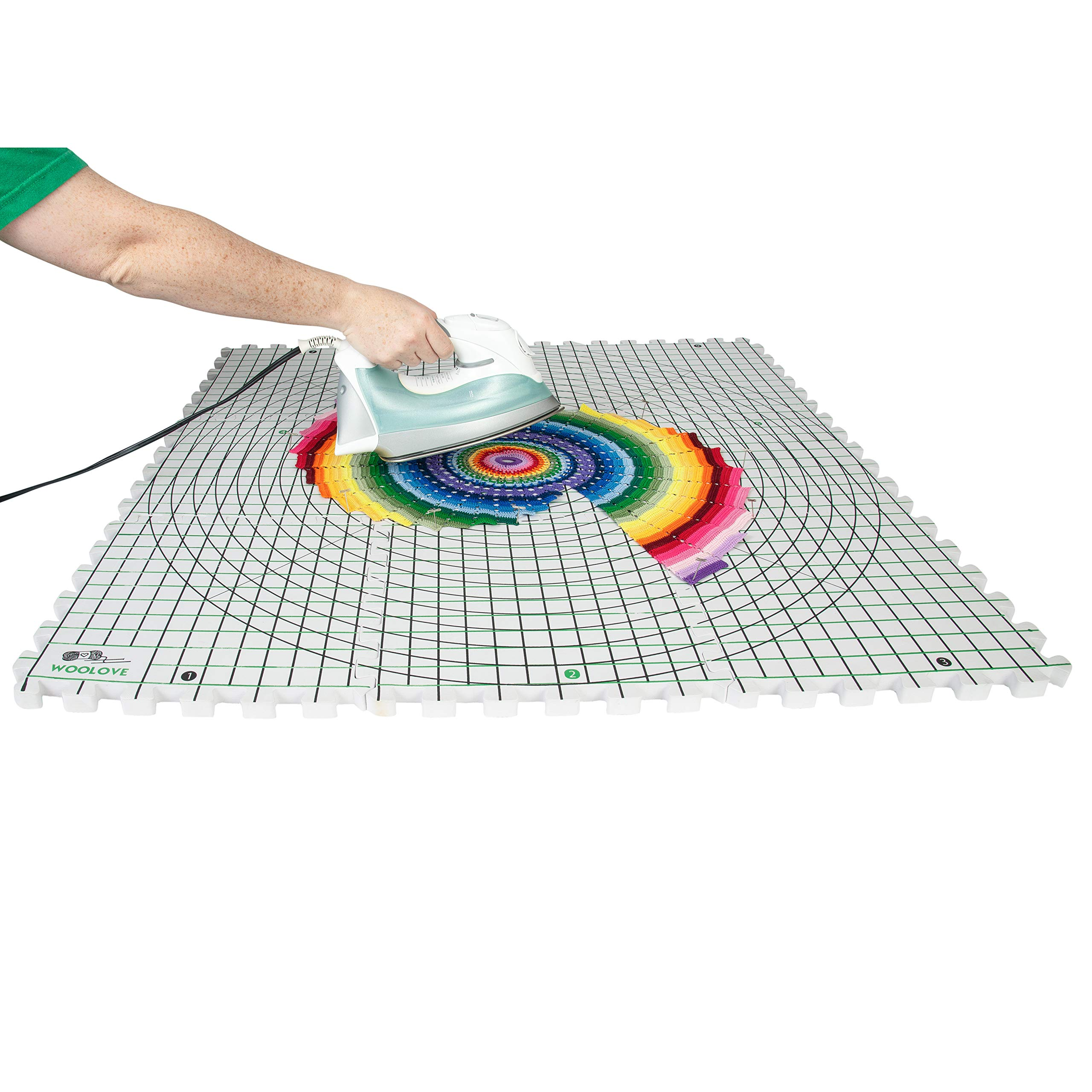 Extra Thick Blocking Mats for Wet and Steam Blocking with Grids and Radial Circles - Set of 9 Marked with Numbers Includes 100 t pins and Storage Bag by WOOLOVE (Image #6)
