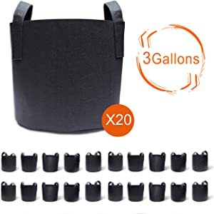 Gardzen 20-Pack 3 Gallon Grow Bags, Aeration Fabric Pots with Handles, Pot for Plants