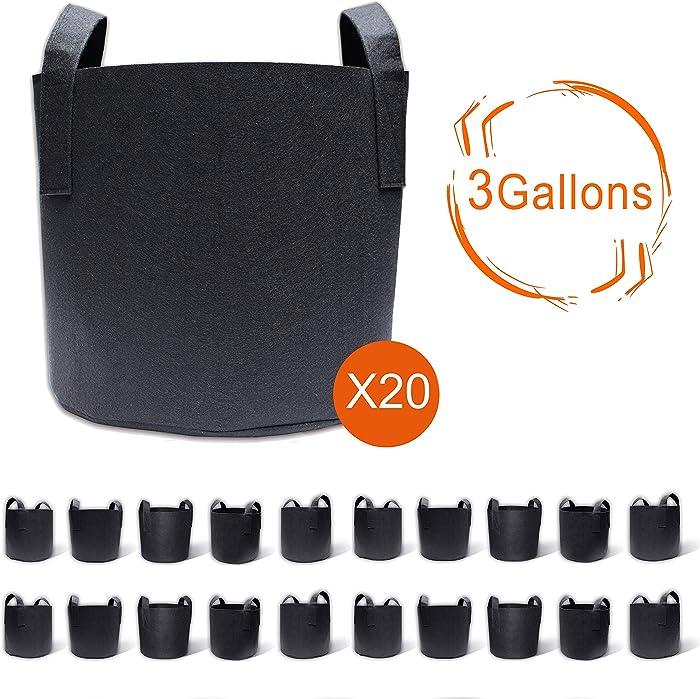 Gardzen 20-Pack 3 Gallon Grow Bags, Aeration Fabric Pots with Handles, Pot for Plants