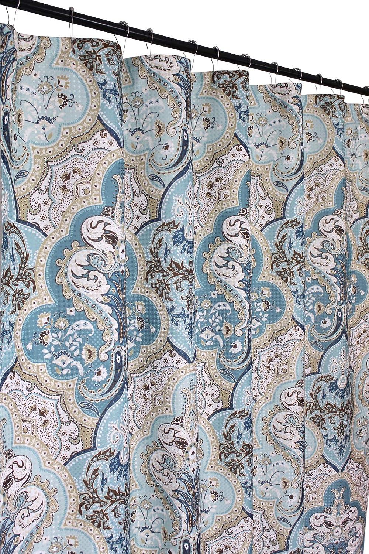 Victoria Classics Calais Dobby Fabric Shower Curtain: Ikat Floral Design (Blue-Brown-White)