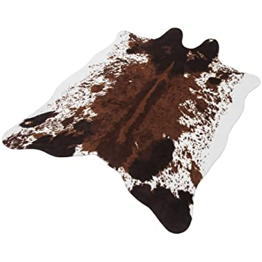 Faux Cowhide Rug Large (4.6' x 6.6') - Cow Print Area Rug for a Western Boho Decor - Synthetic, Cruelty-Free Animal Hide Carpet with No-Slip Backing