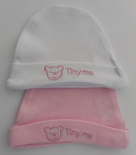 100/% Cotton Pink Pack of 2 Tiny Me Premature Baby Hats