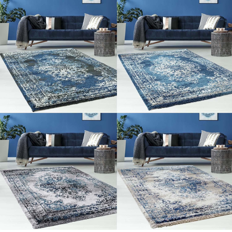 Myshop24h Hochwertiger Teppich Flachflor Orientalisch Orientalisch Orientalisch Klassisch Ornamente Modern Blau Beige Grau Weiß Wohnzimmer, Größe in cm 160 x 230 cm, Farbe Schwarz Blau d71014