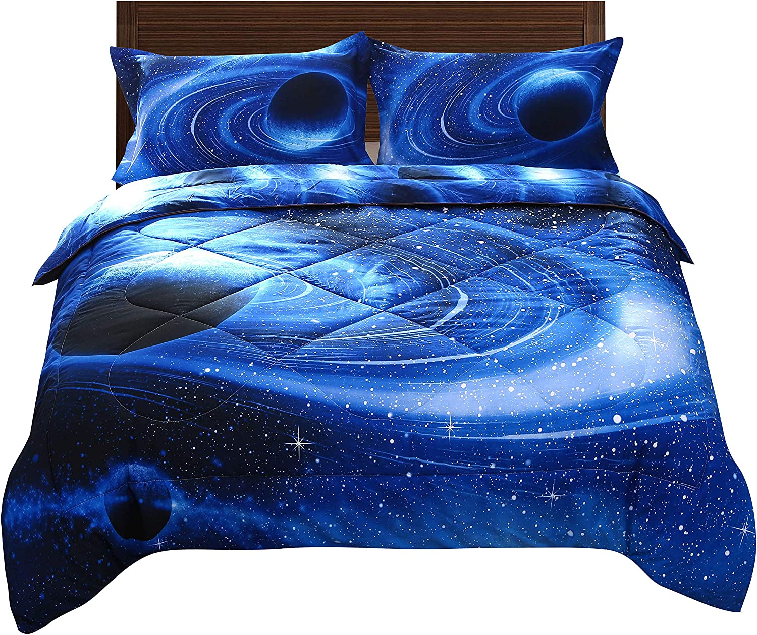 ENJOHOS 3D Blue Galaxy Outer Space Comforter Set for Kids Full Size Universe Quilt Bedspread Bedding Gift 3 PCS