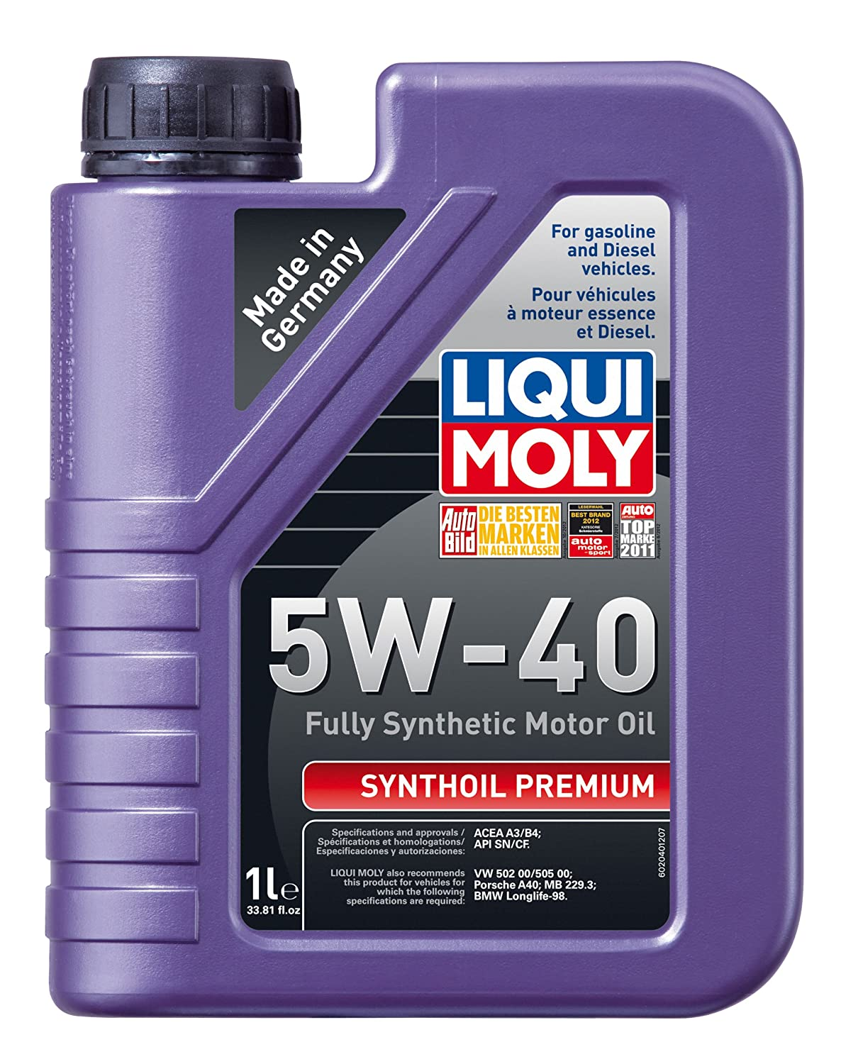 Liqui moly 2040 premium 5w 40 synthetic motor oil 1 for Top 5 synthetic motor oil
