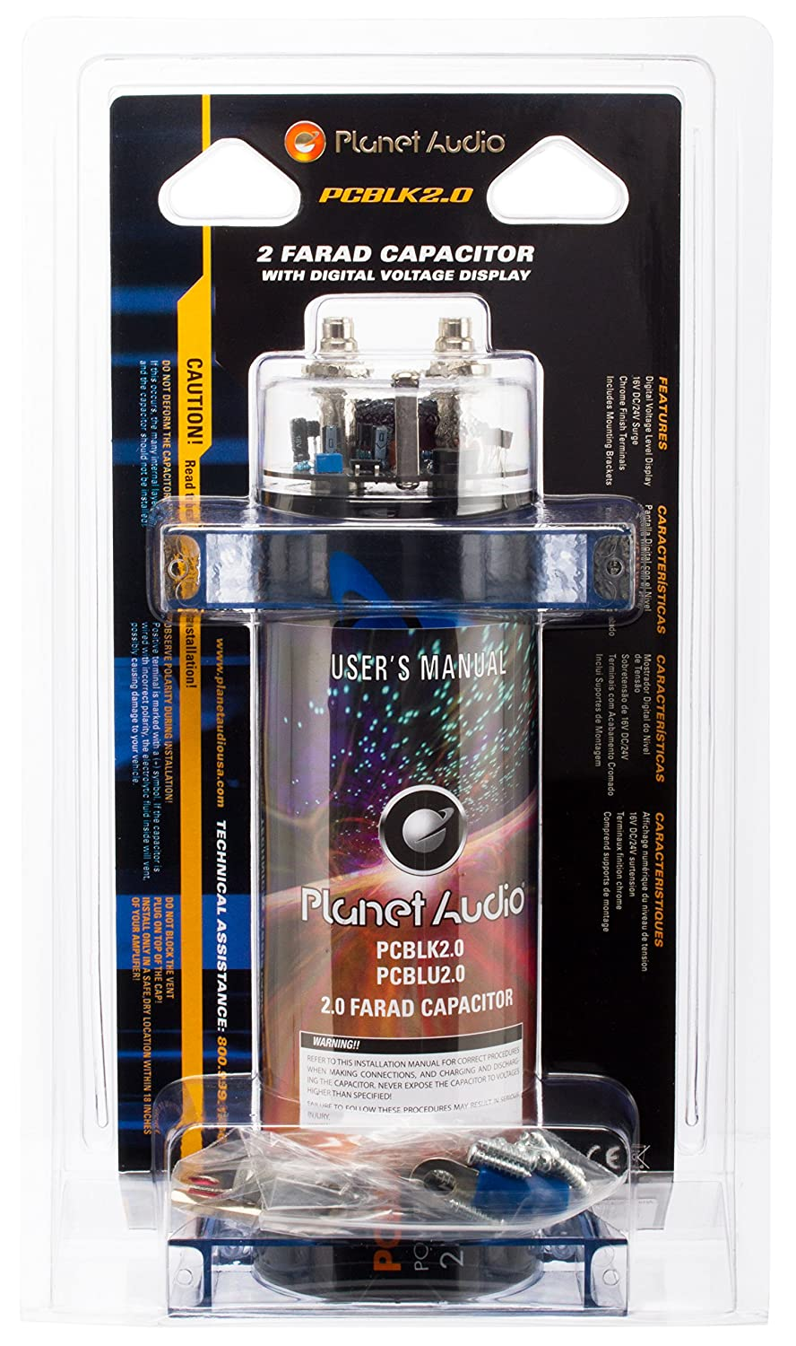 Planet Audio Pcblk20 2 Farad Car Capacitor For Energy Wiring A To Amps Storage Enhance Bass Demand From System Electronics