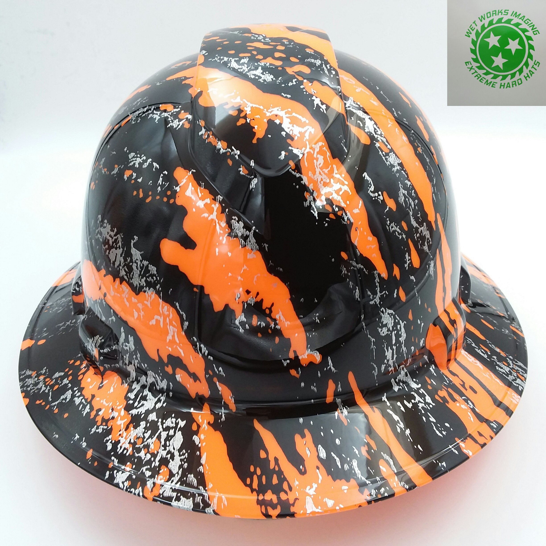 Wet Works Imaging Customized Pyramex Full Brim Hi Vis Orange Urban Camo Hard Hat With Ratcheting Suspension by Wet Works Imaging (Image #1)