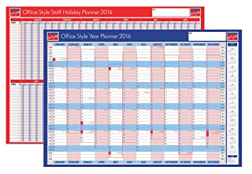 2016 yearly wall planner / 7 day staff holiday leave planner ...