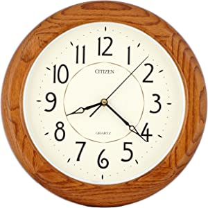 ISHIWA 14-inch Finest Round Oak Solid Wood Quality Quartz Wall Clock, Home Decor (WW0400 Natural Oak)