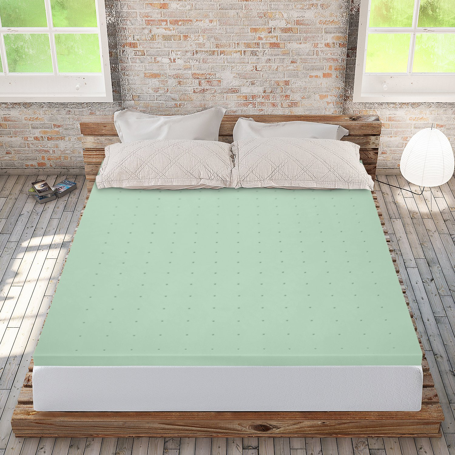 Best Price Mattress Full Mattress Topper - 2 Inch Memory Foam Bed Topper with Green Tea Cooling Mattress Pad, Full Size