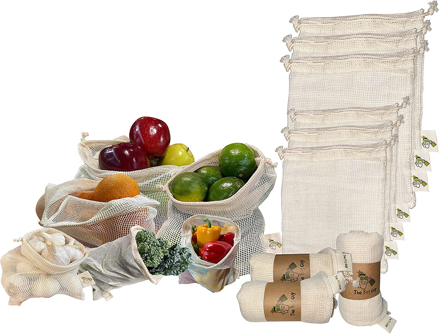 TheBagGuy - Organic Cotton Mesh Bags   Reusable Vegetable Produce Bags   Multipurpose Biodegradable Zero Waste Grocery Bag   Washable   Food Safe   Drawstring Closure   Quality Double Stitched(6 Pack)