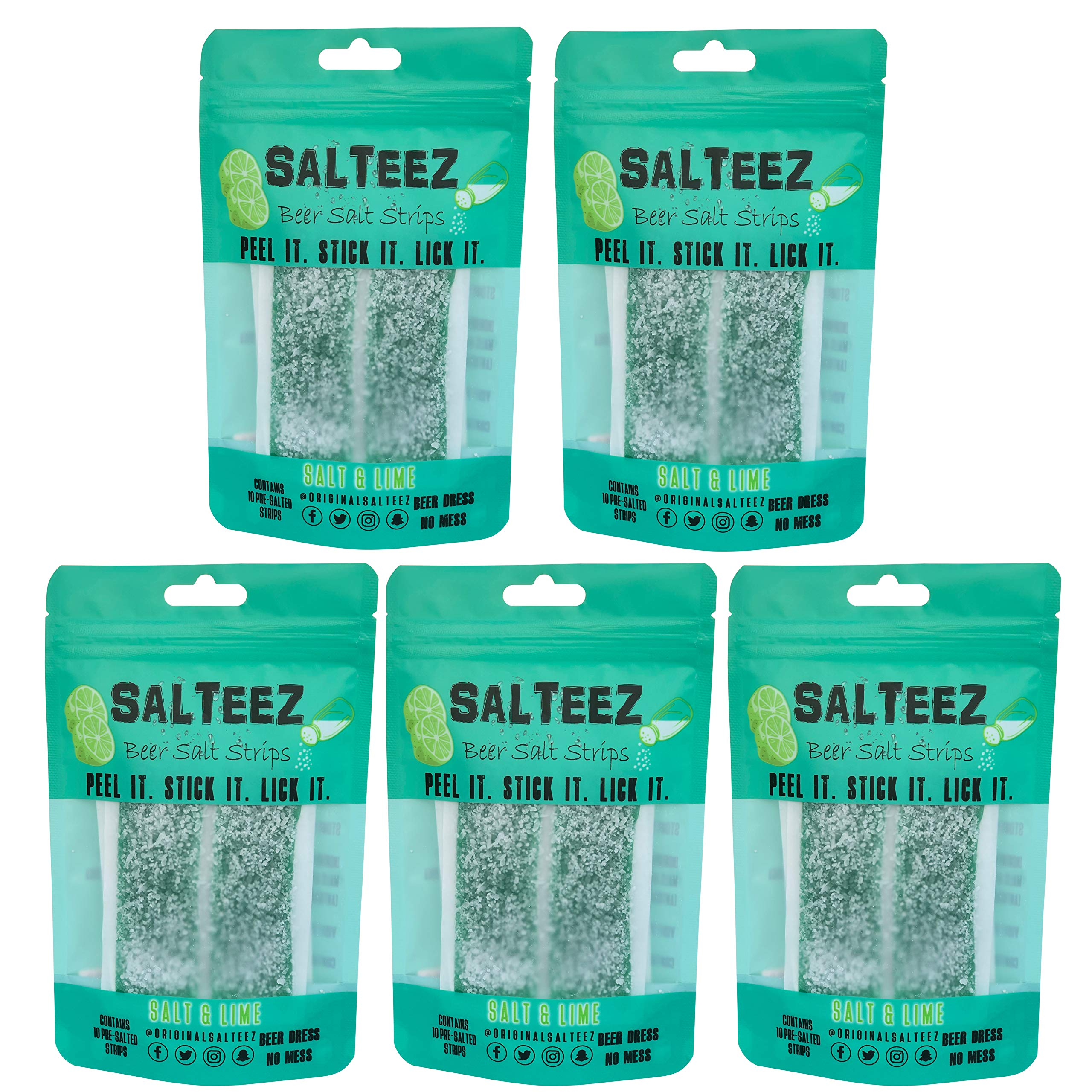 Salteez Beer Salt Strips: Real Salt and Lime Flavor Strips That Stick to Your Bottle, Can, or Cup - 5 Packs (50 Strips Total) - For a Perfectly Dressed Beer Anytime Anywhere!