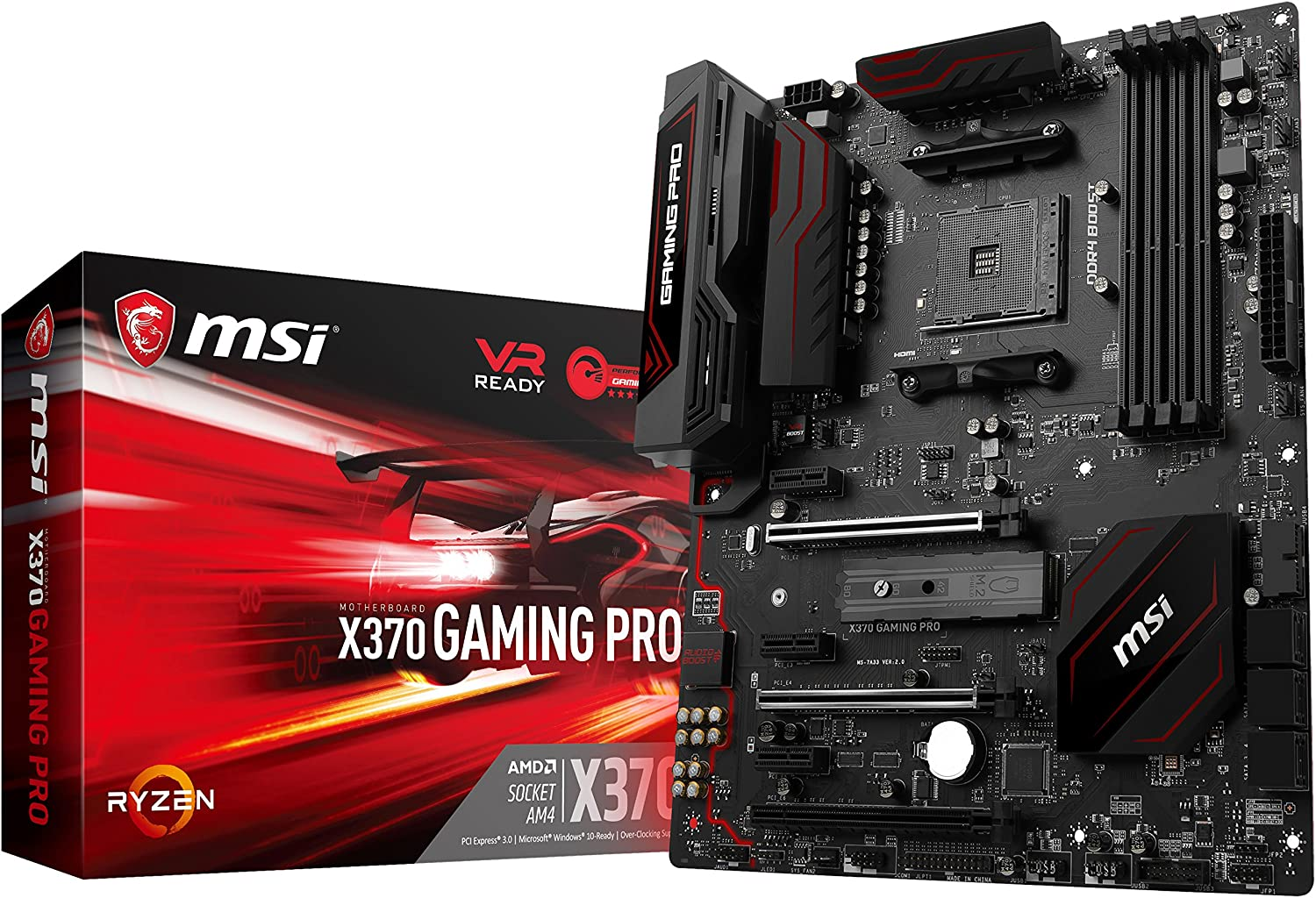 MSI Gaming AMD Ryzen X370 DDR4 VR Ready HDMI USB 3 SLI CFX ATX Motherboard (X370 GAMING PRO)