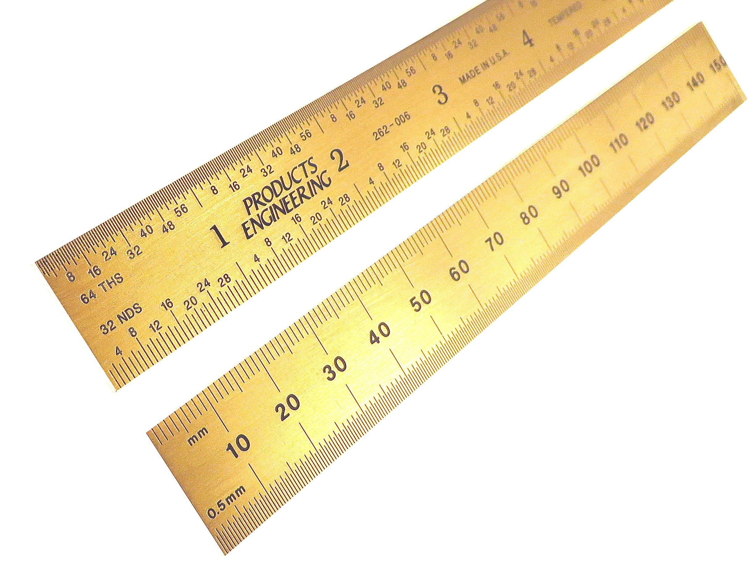 PEC Tools Rigid 6'' 150 mm English / Metric Titanium Nitride (TiN) Coated Extreme Scratch Resistant Ultra High Contrast Machinist Engineer Ruler Scale with Markings .5mm, mm, 1/32'' and 1/64'' 262-006TN