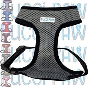 Pucci Paw Dog Harness No Pull Easy Walk for Dogs Cushioned Extra Padding Comfortable Mesh Pet Harness Breathable All Weather Light Weight Strong Puppy Small Medium Large Dog