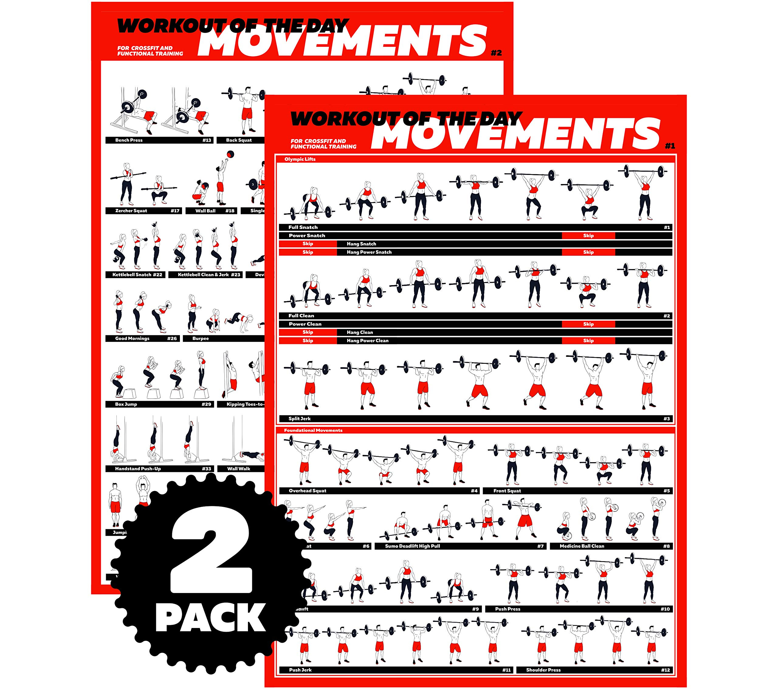 Profit Crossfit Exercise Workout Poster Set - Guide with 45 Main WOD Movements for Full Body Training - Bodyweight, Barbell, Dumbbell, Kettlebell Training Posters - (2 Laminated Posters 24'' x 17'')