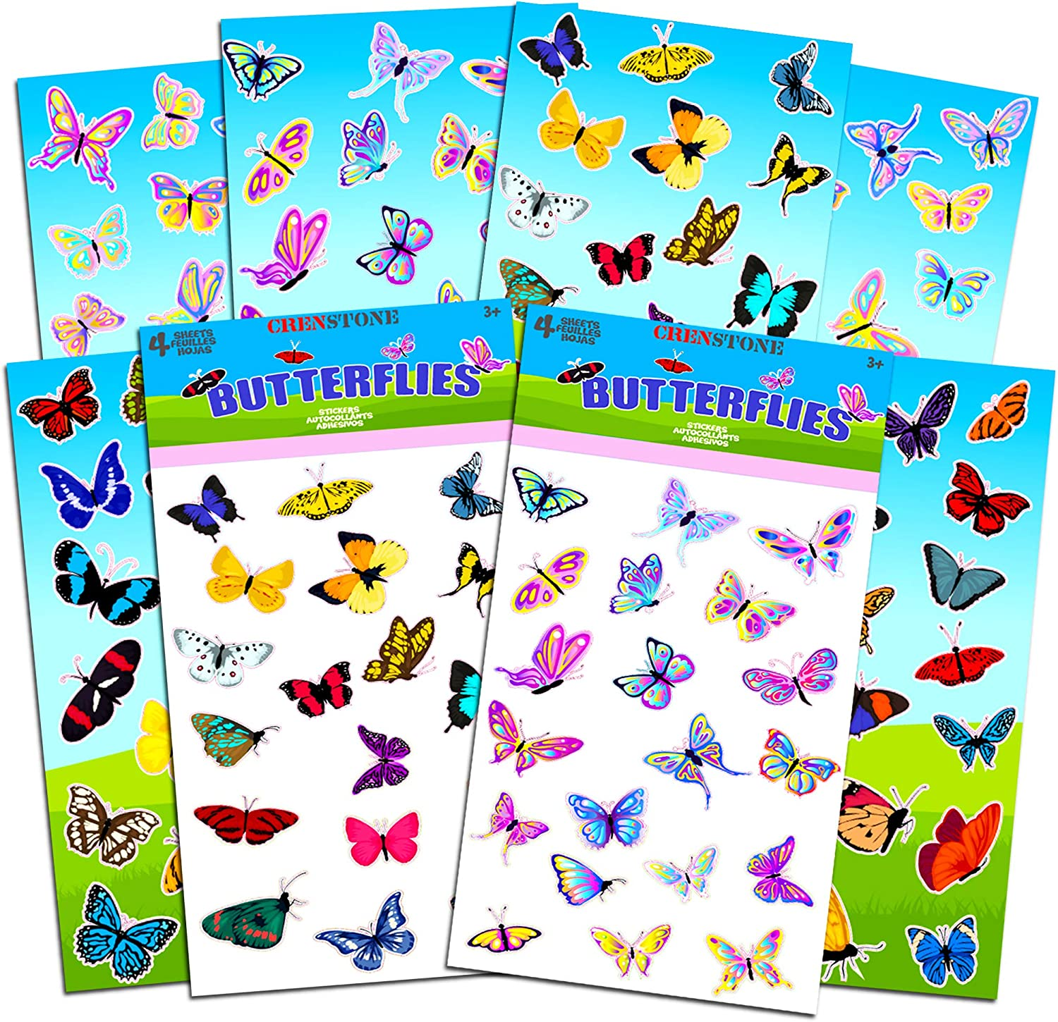 Butterflies Stickers Party Supplies Pack Girls Kids Toddlers Adults - Over 160 Stickers (Party Favor Craft Scrapbooking Adhesive Sticker Sheets)