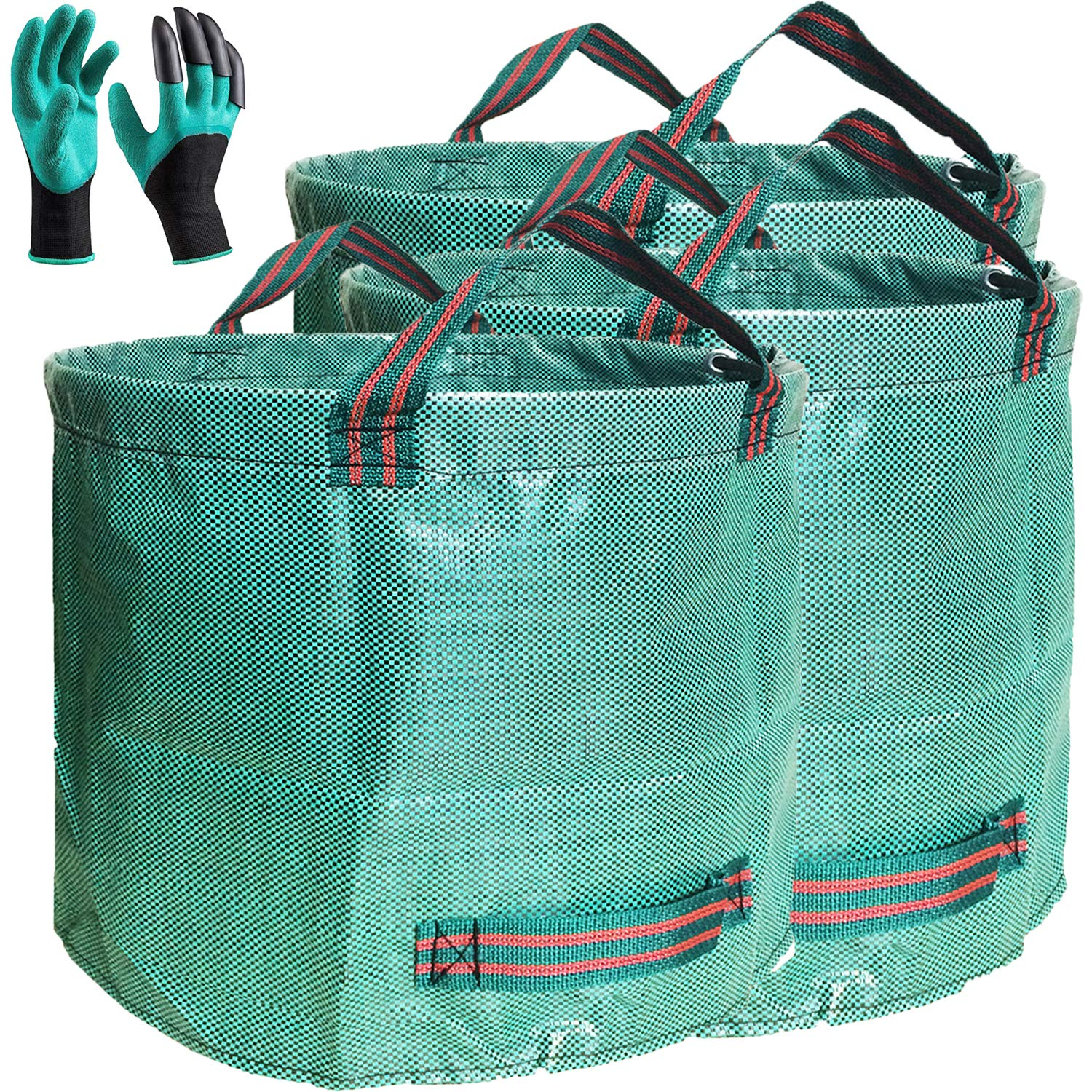 Professional 3-Pack 106 Gallons Garden Yard Bags with Coated Gardening Gloves - XXXXX Large Reusable Leaf Bags Gardening Grow Bag Containers,Reuseable Lawn and Yard Waste Bags Can - 4 Handles