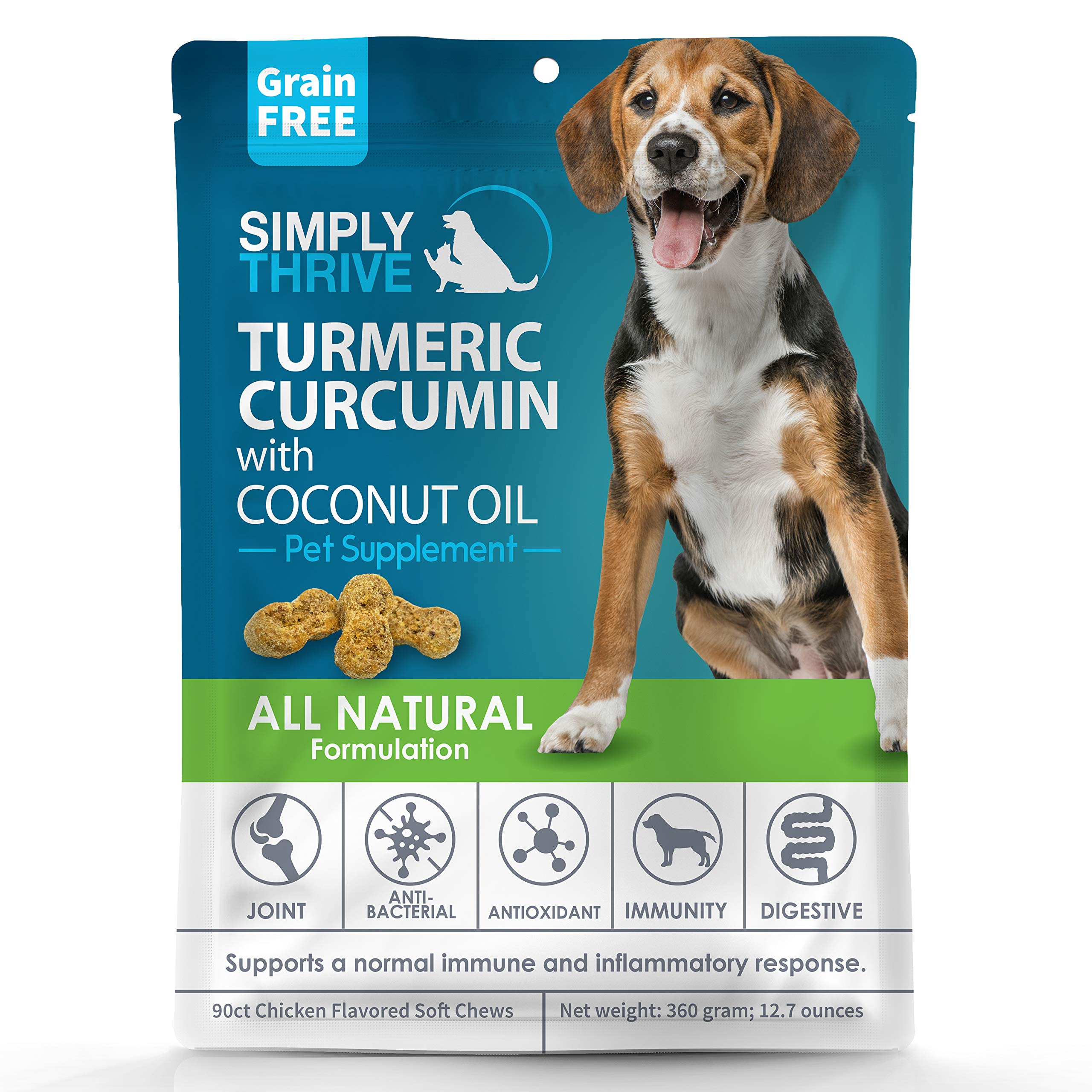 Turmeric Curcumin Supplement for Dogs | 90 ct Soft Chew Treats | Helps With Mobility Hip Joint & Arthritis | Coconut Oil Aids Digestion and Immunity | Natural Source of Antioxidant, Antiinflammatory by Simply Thrive