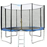 Songmics Trampoline TÜV SÜD GS Certificated With Safety Enclosure Net +Ladder + Bounce Mat Blue 8ft 10ft 12ft 14ft 16ft STR