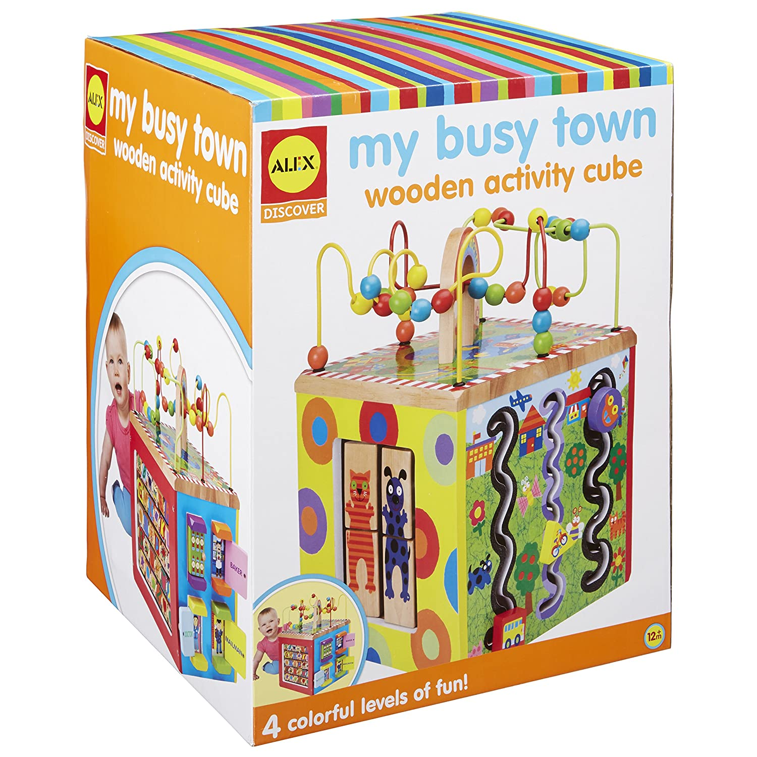 Amazon ALEX Discover My Busy Town Wooden Activity Cube Toys