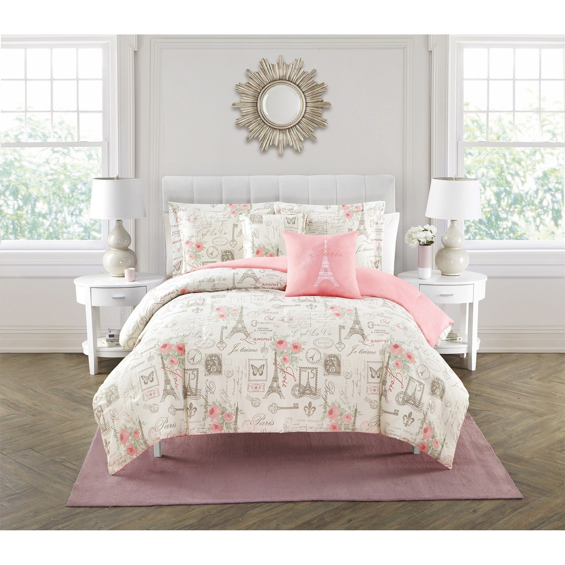 LV 5 Piece Girls Off White Beige Pink I Love Paris Comforter Queen Set, Romantic France Eiffel Tower Themed Bedding Love Key Post Card Stamp Floral Butterfly JeTaime Graphic Pattern, Polyester