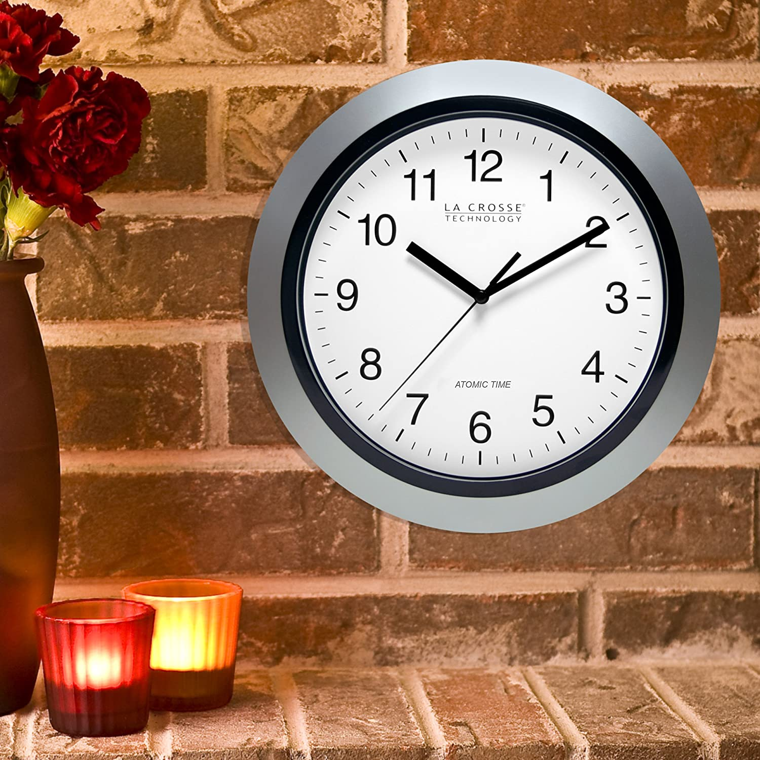 Amazon la crosse technology wt 3102s 10 inch atomic analog amazon la crosse technology wt 3102s 10 inch atomic analog wall clock silver home kitchen amipublicfo Gallery