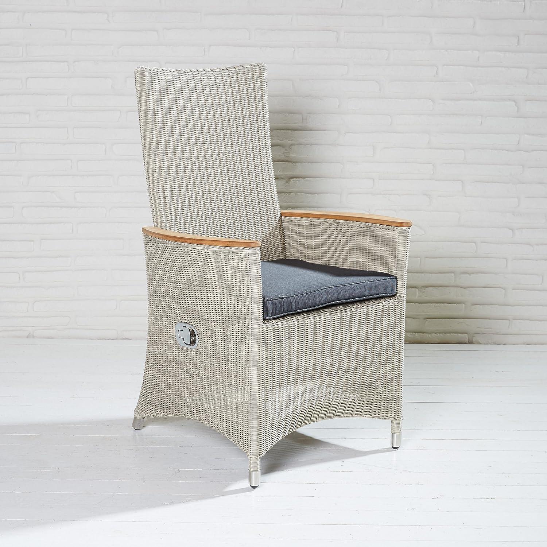 Gartenstuhl Gartensessel Polyrattan beige Positionsstuhl Stuhl Hochlehner Garten