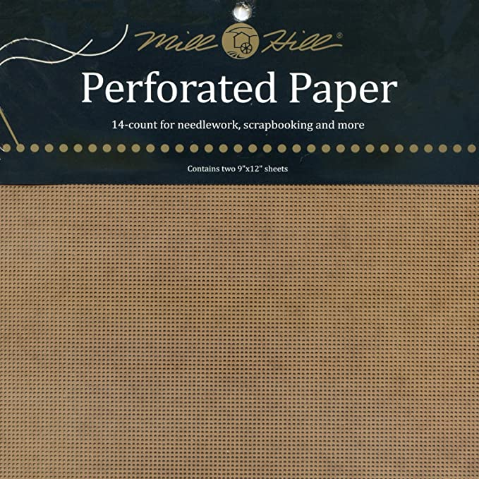 VARIETY of COLORS 22 colors Mill Hill Perforated Paper 14 Count  2 sheets 9 X 12