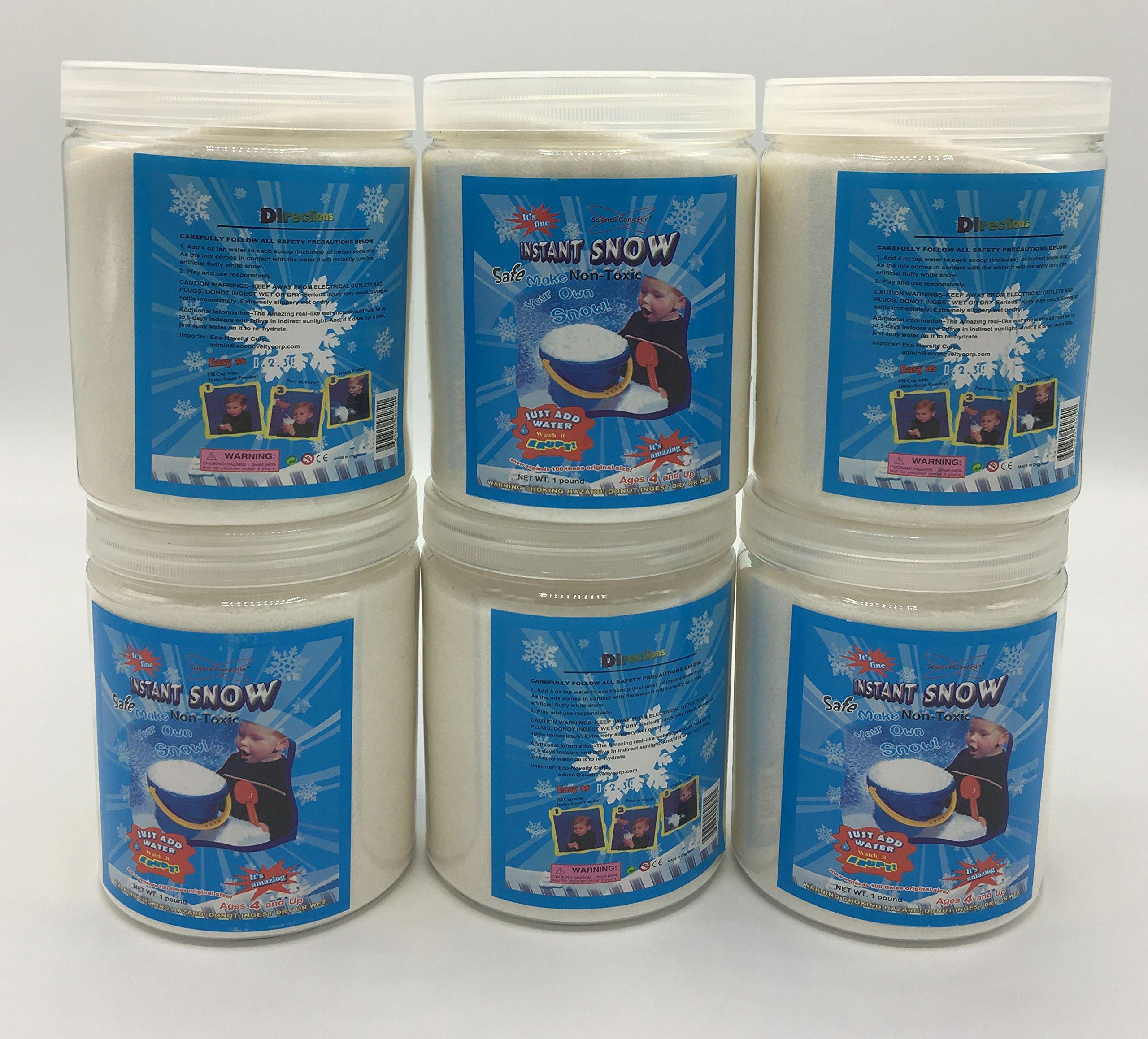 Magic Instant Expanding Snow Powder 1 Pound Jar (6),Makes 48 Gallons