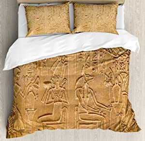 Ambesonne Egyptian Duvet Cover Set Queen Size, Egyptian Hieroglyphs on The Wall Stone Surface Scripts Ancient Arts Theme Image, Decorative 3 Piece Bedding Set with 2 Pillow Shams, Pale Brown