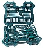 Mannesmann M98430 - Maletín con llaves de vaso y otras herramientas (215 piezas, tamaño: 12x36x51 cm)